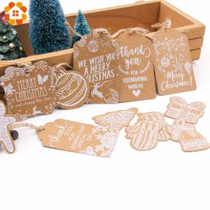 Multi Style Christmas Series Etiquetas de papel Kraft DIY Crafts Etiqueta colgante con cuerda Etiquetas de fiesta de Navidad Suministros de envoltura de regalos