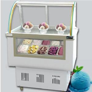 8 barils / 12 boîtes GreenHealth porte en verre commercial gelato vitrine crème glacée trempage armoires avec le meilleur congélateur