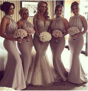 2019 Halter Satin Mermaid longos vestidos da dama frisada Pérolas Ruched Backless de convidados do casamento dama de honra Partido Vestidos BM0201