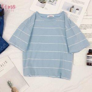 Summer Tshirt For Women Short Sleeve Round Collar Short Midriff Baring Tops Striped Shirt T Shirt Female Clothes 2019