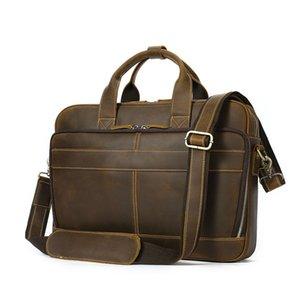 Top Messenger Handbag Men's Vintage Real Crazy Male Briefcase Laptop Grade Shoulder Case Horse Bag Office Portfolio Leather New Ekqgb
