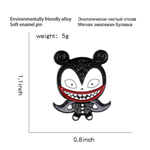 New Pendant Punk Dark Mouse Animation Jewelry Character Cloak Mouth Enamel Ghost Cartoon Pin Child Denim Clothes Gift Big Clown Lapel Muogg