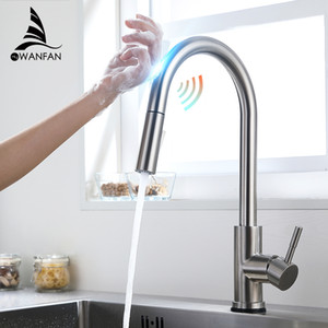 Touch Kitchen Faucets Crane For Sensor Kitchen Water Tap Three Ways Sink Mixer Kitchen Faucet KH1005SN T200423