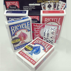 Bicycle Standard Index Playing Cards Red&Blue Original 808 Rider Back Deck with 5 Bonus Dice USPCC Poker Magic Trick Props