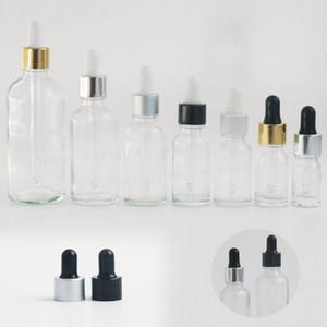 12 x 1 / 2oz Boş Temizle Cam damla şişeleri 1oz Şeffaf Yağ Cam Piepette Damlalıklı şişe 5ml 10ml 20ml 30ml 50ml 100ml