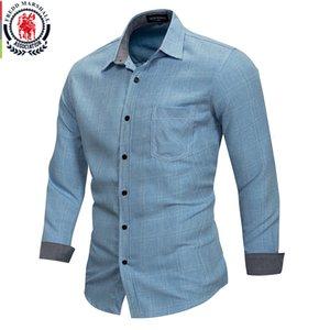 Fredd Marshall 2018 Yeni% 100 Pamuk Ovası Ekose Gömlek Erkekler Rasgele Gömlek Modelleri Erkek camisa masculina Marka Giyim FM167MX190829