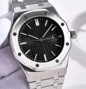 Royal Oak Black Dial Automático Mecânico Transparente Voltar Mens Watch Homem Relógios 41 MM Pulseiras de Aço Inoxidável Pulseira Três Mãos