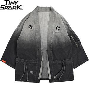 Japanische Kimonojacke Steigung-Farben-Hip Hop-Mann-Jeansjacke Street Harajuku Japan-Art-Cardigan Jean-Weinlese