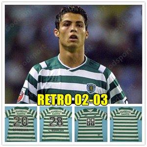 RETRO 02 03 Sporting Clube de Portugal Soccer Jersey 2004 Lis 28 Ronaldo 20 QUARSMA football maillots de football shirt BON CALCIO FUTBOL