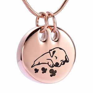 LkJ9941 Round Sleeping Dog en acier inoxydable Crémation Pendentif Pet Memorial Collier Ashes Holder Urne funéraire Bijoux Keepsake