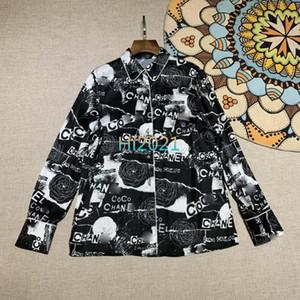 high end женщины девушки повседневная граффити рубашка письмо цветочный принт однобортный лацкан шеи с длинным рукавом блузка 2020 мода роскошный дизайн топы