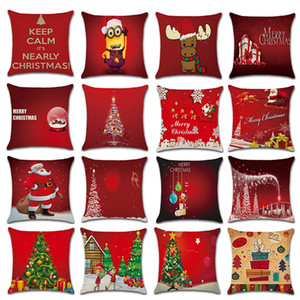 레드 크리스마스 쿠션 커버 베개 홈 리넨 크리스마스 베개 커버 18X18 인치 크리스마스 트리 산타 클로스 인쇄 베개 커버 DBC VT0822