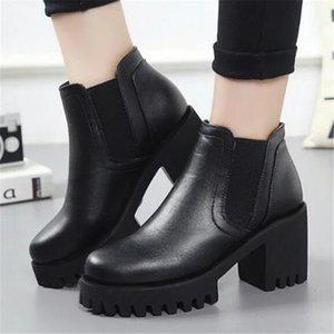 Зимние новые толстые короткие сапоги на толстом каблуке женские модные сапоги для верховой езды плюс бархатная теплая женская повседневная обувь