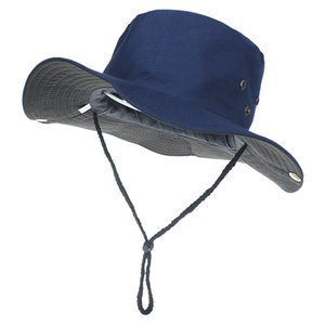 2020 New Summer Bucket Hats For Mens Fisherman Hats With Wide Brim Sun Fishing Bucket Hat Breathable Mesh Polyester Quick Cut Cap