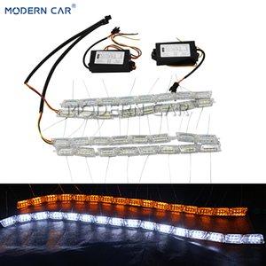 MODERN CAR Flexible Weiß / Gelb-Tagfahrleuchten Sequential Fließende Switchback LED DRL-Lichtleisten Flussblinkleuchte
