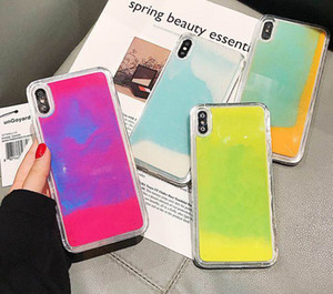 quicksand case For Iphone 11 Pro Max XS MAX XR X 8 7 6 Plus Flowing Neon Sand Liquid Full Body Protection With Raised Bezel Glow Case