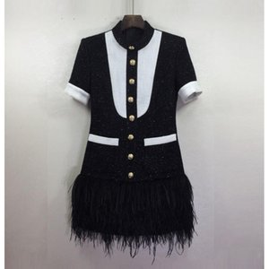 Premium Brand New Top Quality Original Design Women's White & Black Hit Color Dress Metal Buckles Feather hem Mini Dress
