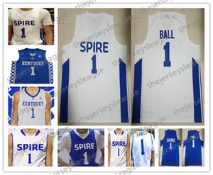 Spire Enstitüsü # 1 LaMelo Topu Lise Beyaz Kraliyet Mavi Kentucky Wildcats Erkekler Gençlik Kadınlar En Kaliteli Dikişli Basketbol Formalar
