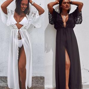 Bikini Cover Femmes Up Robe Kaftan Maillot de bain paréos v-cou pour les femmes Tunique de plage Sarong robe de plage Beachwear Maillots de bain