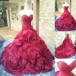 Magnifique 3D Rose Fleur Robes De Mariée Sirène De Volants Ruché 2019 Assez Rouge Robes De Mariée Plus La Taille Chérie Robe De Noiva