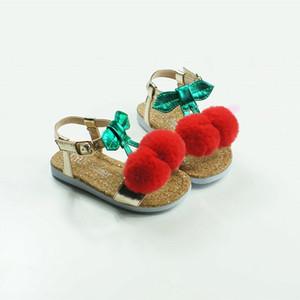 사랑스러운 체리 여자 샌들 부유층 마이크로 화이버 아기 신발 폼은 폼은 아동 비치 신발 파티 키즈 샌들 T200411