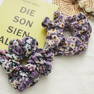 Floral Scrunchies Rubber Hair Ties Elastic Bands Flower Ponytail Holder Purple Hair Scrunchie Women Summer Hair Accessories