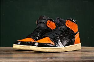 Yeni deri 3,0 1 Yüksek OG Siyah Turuncu Saten Erkekler Basketbol Ayakkabı Spor Male 1s Sneakers Üst Kalite Backboard Boyut Shattered 7-12