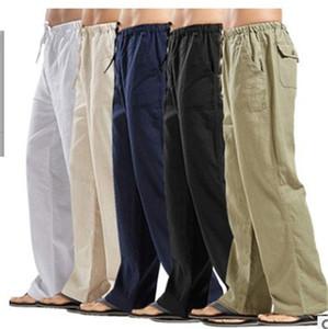 Para hombre 5XL color sólido Pantalones hombre Pantalones de lino Blend Ropa hombre Enfriar elástico de la cintura Joggers Deportes hombre sueltan los pantalones casuales