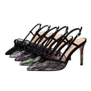 High Heels Mode Sexy Bankett schlanke Frauen Schuhe Stiletto High Heel Strass Spitze Hohl Sandalen jooyoo