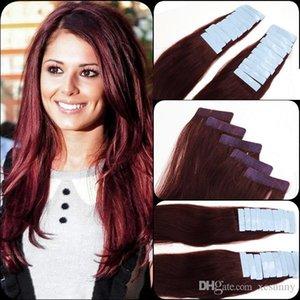 """99J # Burgundy 12 """"-26"""" Pele trama extensão do cabelo Índia premium Remy Pu Tape Em 20 Pcs 2.5G pc real Natural Cabelo Humano"""