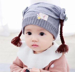Winter Warm Add Plush Beanies Hats Girls Wig Braid Ribbed Knitted Hat Kids 2019 New Skullies Caps Yellow Red Pink