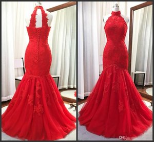 Real Picture Red Mermaid Evening Gowns 2019 New High Neck Lace Applique Lace Up Long Prom Party Dress Plus Size Mother Of Bride Dresses