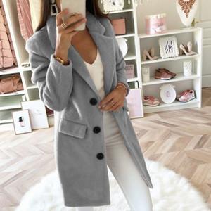Sfit Kadınlar Yün Coat sonbahar Uzun Bayanlar ceketler Coat Plus Size 5XL Casual Katı Pembe Blend Kadın Kabanlar Ceketler