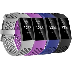 Fitbit Şarj Için bilezik 3 Bantları Kadın Erkek 4 Paket TPU Fitbit Şarj Için Akıllı İzle Aksesuar Bilek Sapanlar 3 Siyah Mavi Bantları