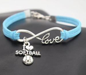 Punk Sport I Love Softball Bracelet Boho Wrap Suede Leather Bracelet Antique Silver Infinity Love Charm Bracelet Women Men Jewelry Gift