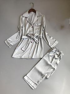 Spring Autumn Turn-Down Collar Pajama Sets Women Long Sleeve Thin Sleepwear Female Elegant Rayon