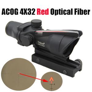 사냥 용 소총 범위 ACOG 4X32 광섬유 적색 도트 조명 쉐브론 유리 에칭 적목도 전술상 적색 광섬유 광경