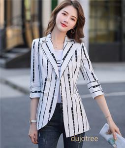 BS956 Yeni 2020 Moda Kadın Blazers ve Ceketler İnce Şık Ofis Bayanlar Kabanlar Coat Beyaz Siyah Çizgili Patchwork OL Blazer