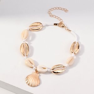 Europe Popular Vintage Gold Color Shell Anklet for Women Summer Beach Barefoot Anklet Bracelet Boho Foot Jewelry