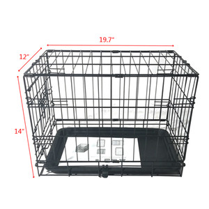 WACO Small Pet Cage, Multiple Doors Folding Metal Dog Cat Crate Steel wtih Plastic Pan, Pet Kennel Animal Rabbit Playpen Wire Cage Black