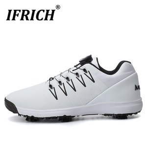 Sapatos Ifrich Mens Golf Professional Sports Men Light Weight Couro F Homens de borracha antiderrapante Golf Trainers Big Size