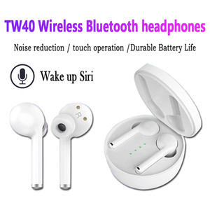 New TW40 TWS V5.0 Earphones Wireless Noise Cancelling Stereo HiFi Headphones Touch HD Call Super Battery Life Earbuds for iPhone Android