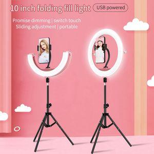 selfie anillo de luz con el trípode 10 pulgadas tres colores toque de temperatura de activación plegable luz de relleno 180 ° flexibles tres brillo de la luz del anillo del LED