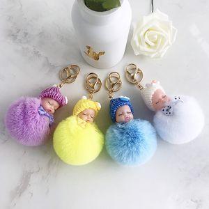 Cute Sleeping Baby Doll Keychain Bow Pompom Ball Carabiner Key Chain Keyring Women Kids Key Holder Bag Pendant key Ring Favor RRA2896
