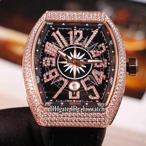 Новая мужская коллекция Vanguard V 45 Yachting Автоматические мужские часы из розового золота с бриллиантами Черный циферблат с бриллиантами Mark Black Leather Cool hi_watch H06c3