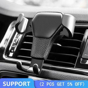 Reacción gravedad del coche sostenedor del teléfono móvil Clip soporte para teléfono Tipo de salida de aire Monut Gps del coche para Iphone 8 7 6 6s Plus Samsung S7 S8 S9