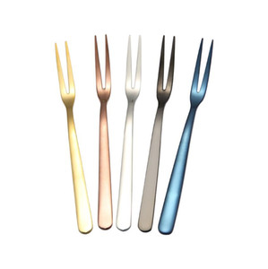 5 Colors Cake Fork Stainless Steel Gold Forks For Fruit Salad Small Rainbow Fork Useful Dessert Fork for Snack Dinnerware Kitchen bar tools