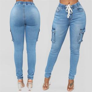 Los pantalones vaqueros lápiz 5XL de las mujeres de cintura alta de verano azul claro de las señoras de los pantalones vaqueros flacos elásticos de la cintura de largo