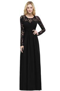 Manches longues en mousseline de soie demoiselles d'honneur Robes 2020 Jewel Neck Lace Top robe de soirée de mariage Bourgogne Noir Raisin Violet