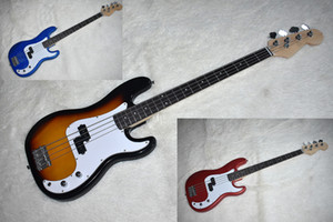 Factory Custom Tobacco Sunburst Metal Blue Red 4 Strings Electric Bass Guitar with Chrome Hardware,Rosewood Fretboard,Can be Customized